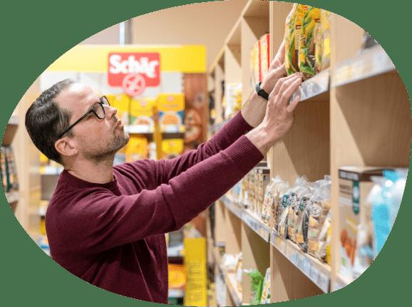 Scelta di prodotti senza glutine e senza lattosio